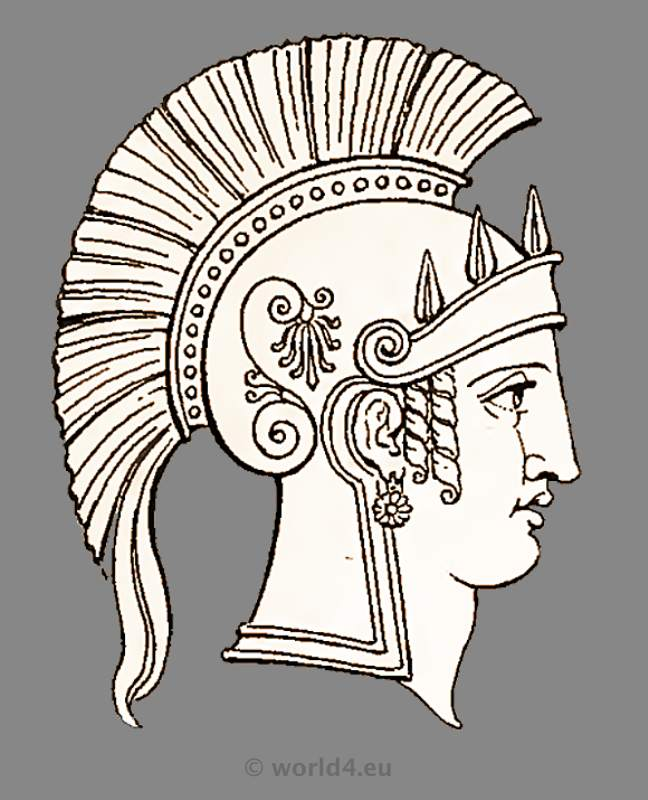 Ancient Roman goddess Minerva head dress and helmet. Antique Warrior and soldiers uniforms.