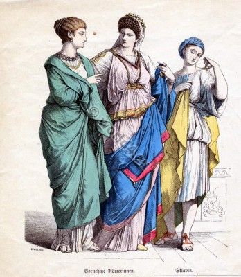 Ancient Roman costumes. How to wear a toga, tunic. Noble Roman women, Female Slave clothes