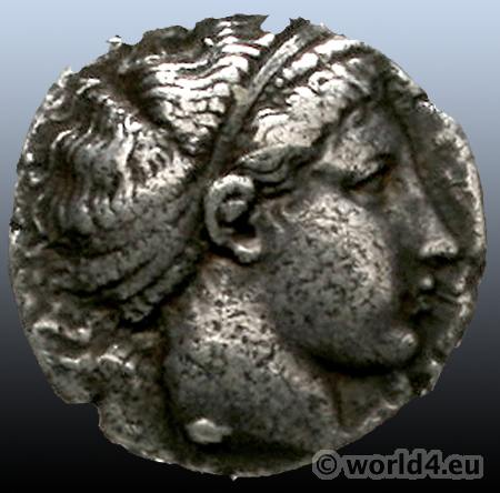 Antique Greek Coins. Lucania - Metapont Stater 420/410 v. Chr. Head of Demeter