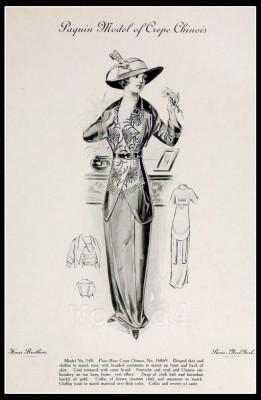 France Fin de siècle fashion. French haute couture gown. Belle Epoque cocktail dress by Jeanne Paquin
