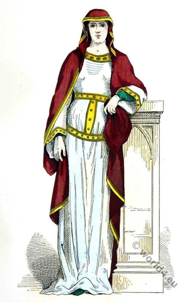 Carolingian, Queen, clothing, fashion, middle ages,