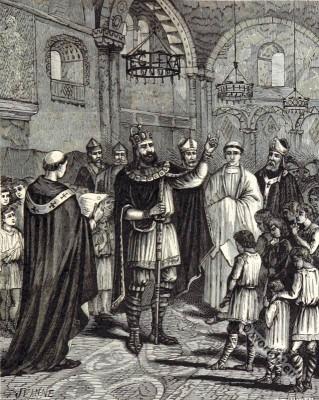 Charlemagne Frankish carolingian king speech. Medieval Clothing.