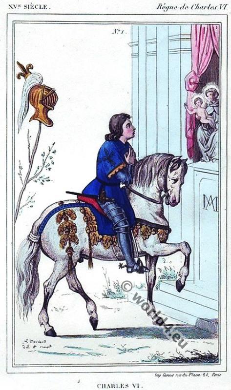 Charles VI. Le Bien-aimé - Middle ages costume history. 15th century fashion.