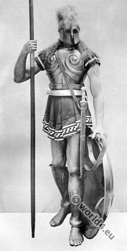 Greece Hoplites warrior with armor. Ancient Greek costumes.