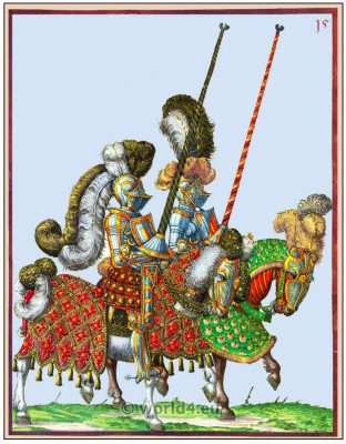 Men-at-arms with lances. Medieval Knight. Heavy cavalry. Renaissance 16th century soldiers.