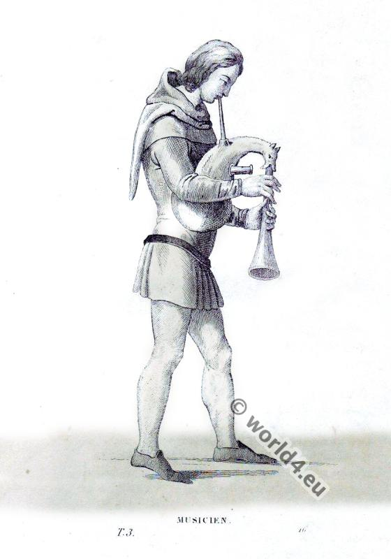 Medieval Musician with bagpipe. Middle ages costume history.