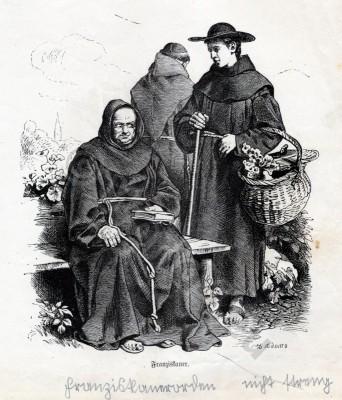 Franciscan Monks costumes. Monastic costumes history. Liturgical garment