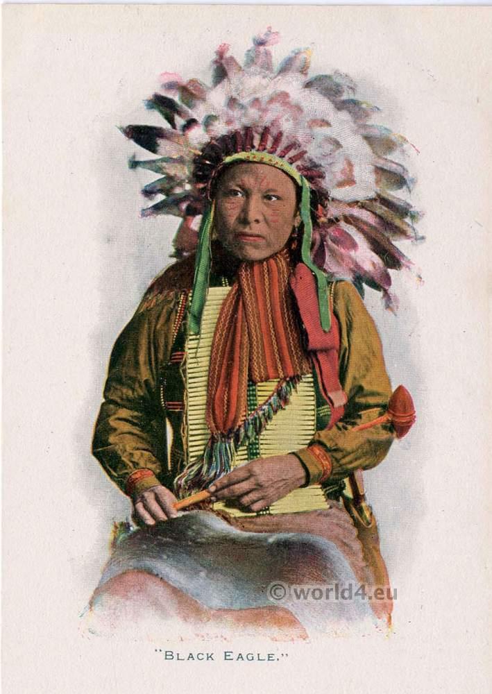 Sioux, Black, Eagle, feather, bonnet, Native, American,