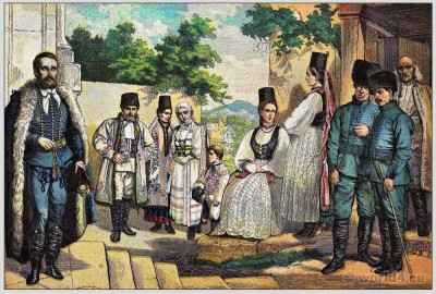 Traditional Woman`s and Mens Dress of Bucovina. Bucovinan folk dresses and clothing. East european national costumes.