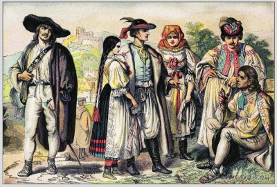 Traditional Woman`s and Mens Dress from Romania. Transylvanian folk dresses and clothing. East european national costumes.