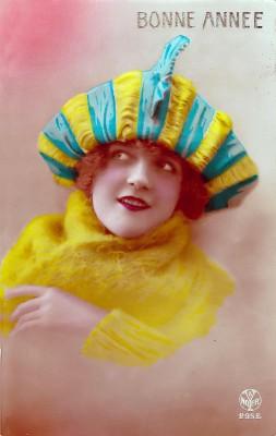 French girl fashion costumes. Turban Headdresses.