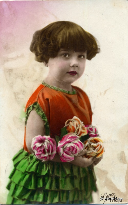 German girls fashion in 1910. Vintage child dress, hair style and clothing