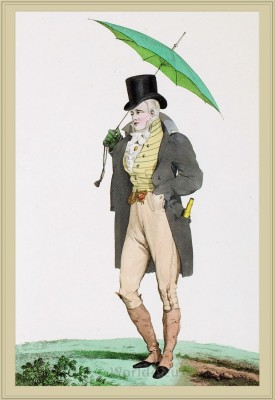 Dandy Costume Culotte & Guètres de Peau couleur de Cuir. France Incroyables, directoire, regency era fashion.