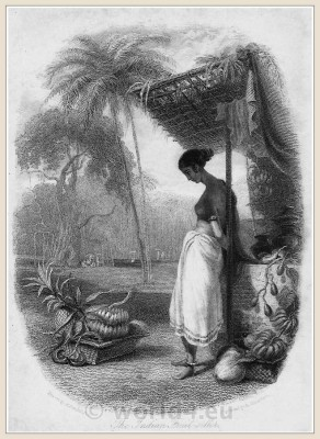 Traditional India dress. Hindu clothing. Fruit seller. 18th century costumes.