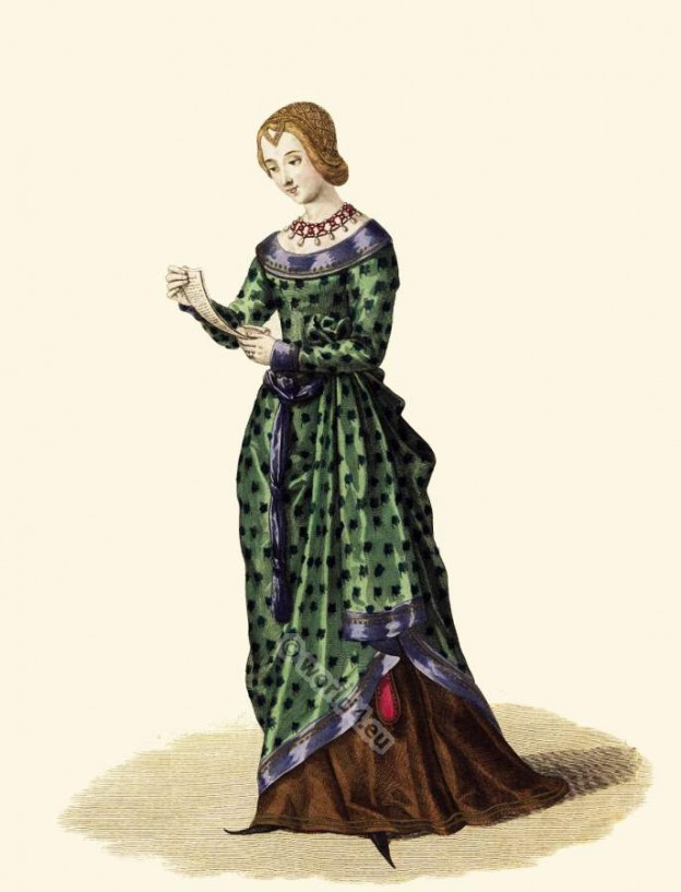 Medieval fashion and style. Middle ages, Gothic dresses and costume. French Nobility clothing.