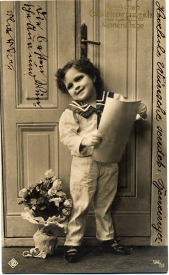 Vintage and retro sailor costume of german boy. Boho Child dress. Greeting card