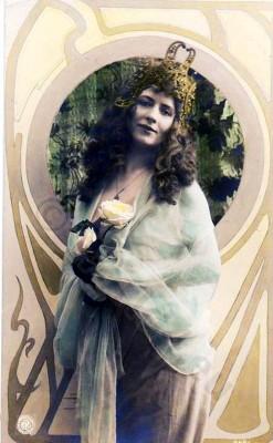 German Art nouveau costumes. Fin de siecle vintage fashion. Hair style and make-up