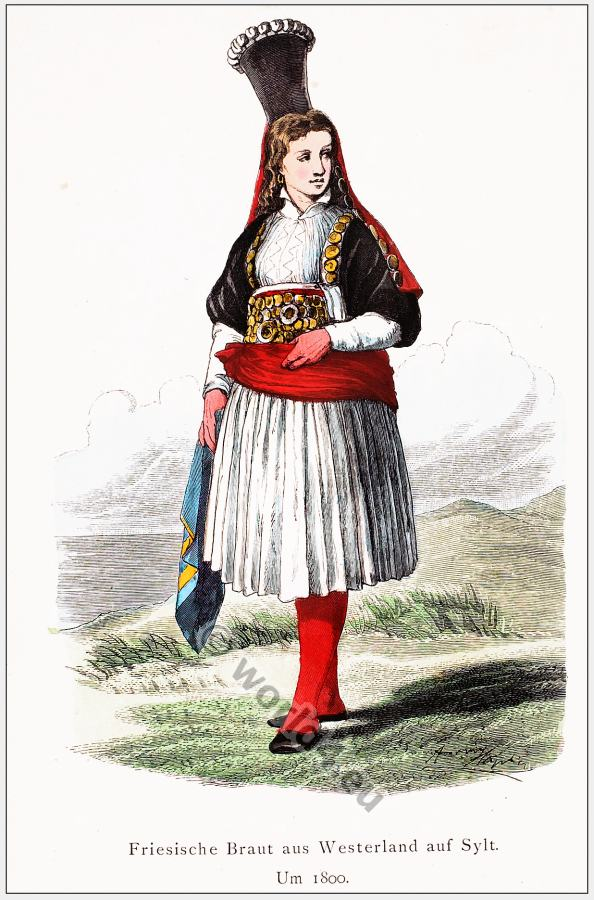 German folk clothing. Traditional Frisian bride costume. Friesische Tracht.