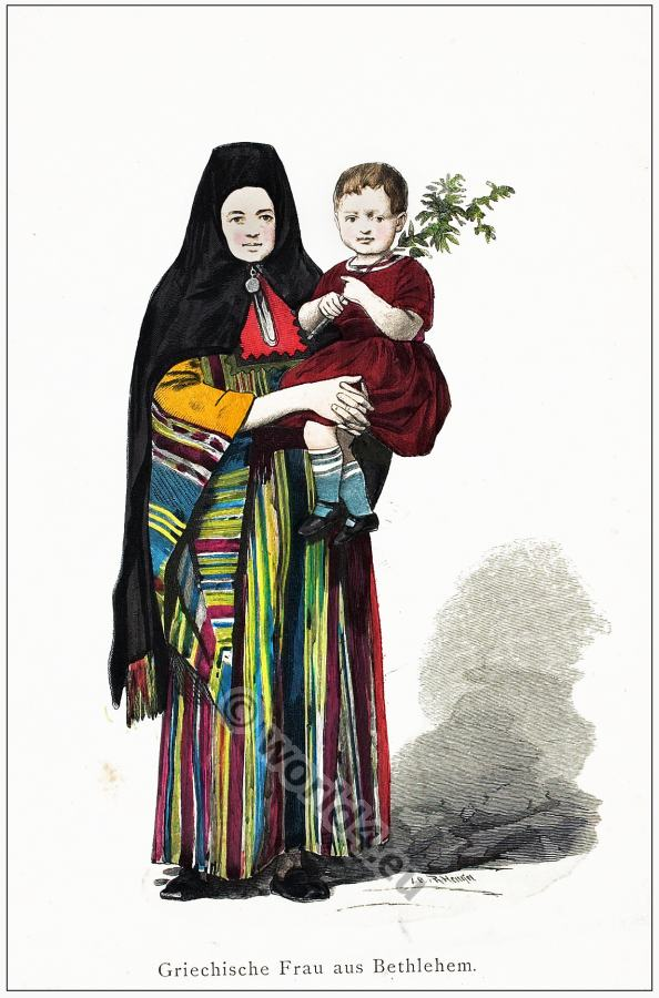 Traditional Greek woman and child folk costumes.