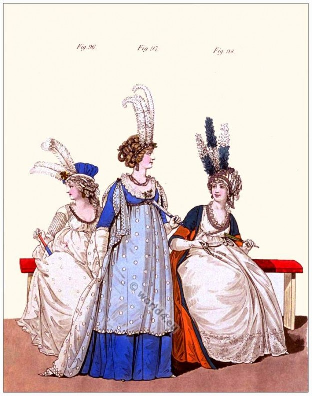Opera dresses, Petticoat, yeoman hat, ostrich feathers, Heideloff, Jane Austen, Regency, Neoclassical, Gallery, Fashion, Costumes,