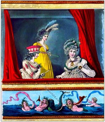 Heideloff Gallery of Fashion Opera dresses. England Georgian period clothes. Regency costumes.