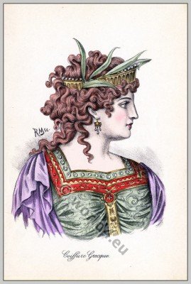 Ancient Greece fashion and hairstyle. Historical hairdos, tiara. Greek costume.