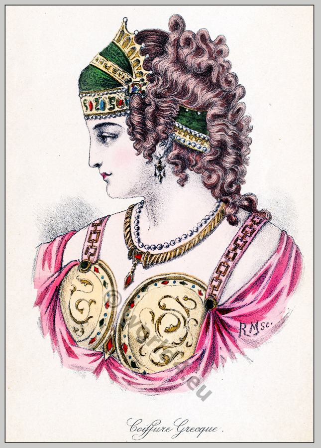 Ancient Greece tiara and hairstyle. Ancient Greek woman fashion.