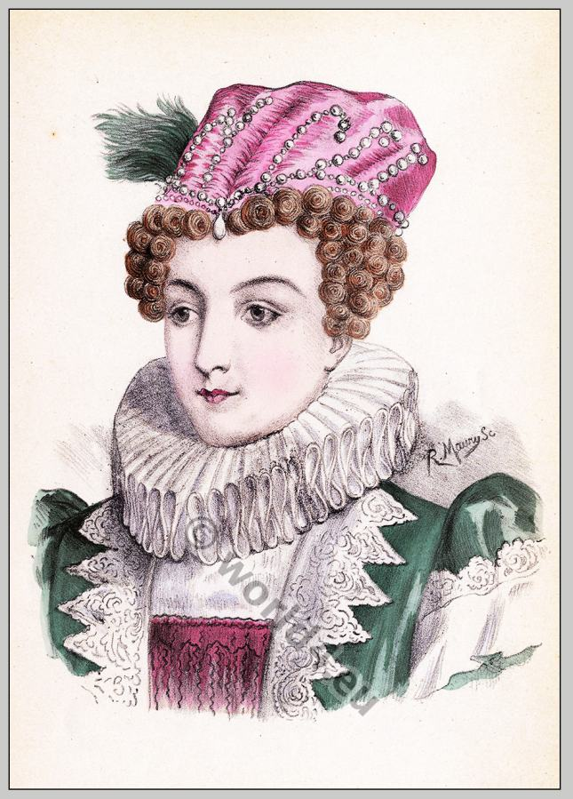 Marguerite de Navarre. Coiffure Henri IV. hairstyle 16th century. Queen of Navarre