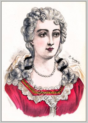 Rococo hairstyle. French Historical hairdos. France women`s fashion. Mode des Rokoko
