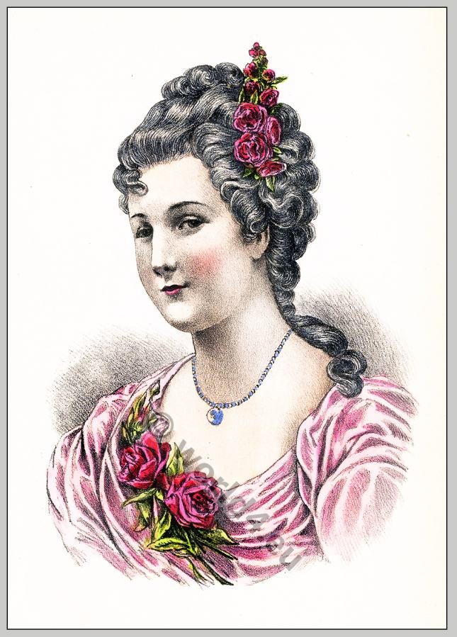 Comtesse, Parabère, rococo, hairstyle, Coiffure,