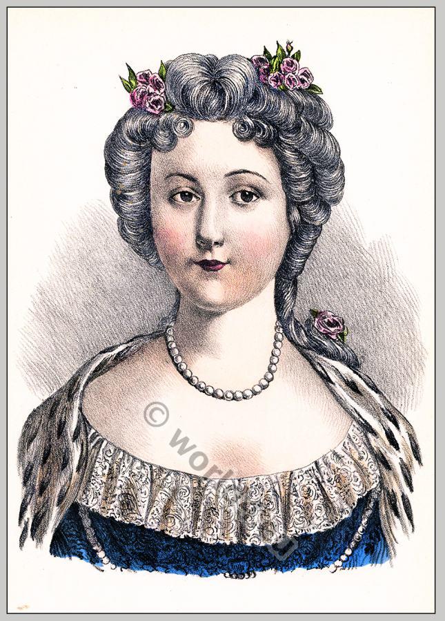 Maria Leszczyńska, rococo, hairstyle, Coiffure,