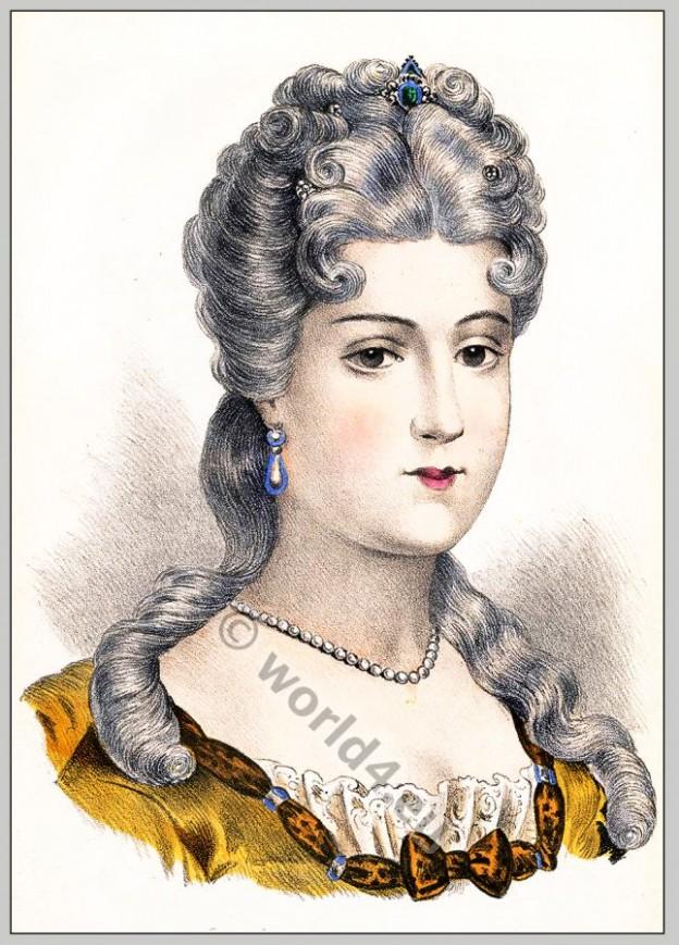 Louise Élisabeth de Bourbon-Orléans, rococo, hairstyle, Coiffure,
