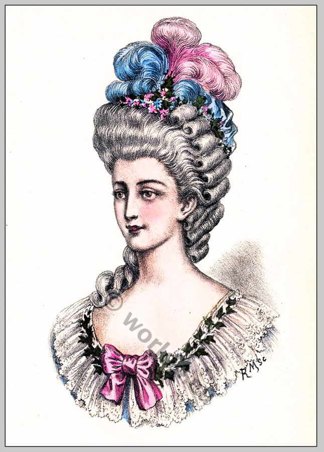 Rococo hairstyles. Louis XVI. 18th century fashion