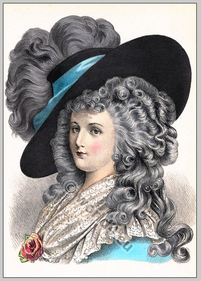 Rococo hairstyle. 18th century.