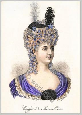 Coiffure de Merveilleuse. French Merveilleuses costume ideas. France Directory, Directoire fashion.