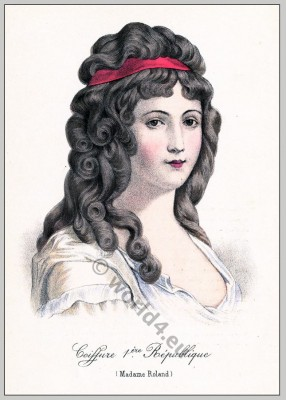 Madame Roland, revolution, costume, history,French, directory, hairstyle, Historical hairdos, France, Merveilleuse, fashion,