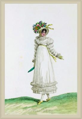 Neoclassical Costume Robe de Perkale. Merveilleuses. France directoire, regency era fashion. Horace Vernet.