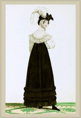 Costume Robe de Velours. Chapeau de Velours. Merveilleuses. France directoire, regency era fashion. Horace Vernet.