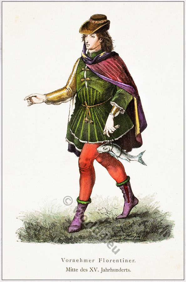 Burgundian medieval dress. Italian Renaissance costume nobel Florentine