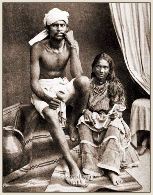 Indian Coolie Man and Wife dress. Hindu Laborers Cultural Costume and Turban
