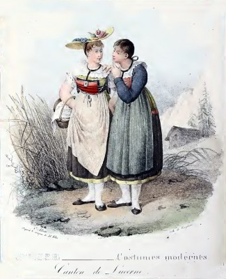 Traditional Switzerland costumes. Swiss folk clothing. Canton Lucerne costume.