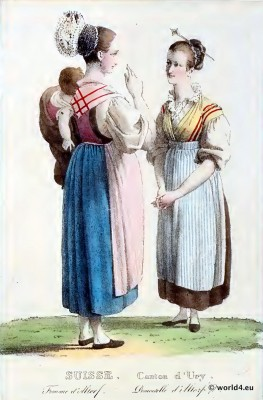 Traditional Switzerland national costume. Swiss folk costume. Clothing Canton of Uri