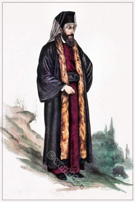 Armenian orthodox catholic priest costume. Traditional ecclesiastical clothing.Franz Lipperheide.