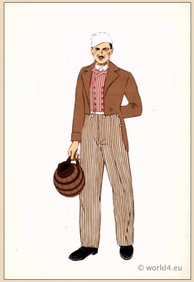 Traditional French national costumes. Homme de Bourgogne.
