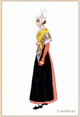 Traditional French national costumes. Woman folk dress from Dieppe, Normandy