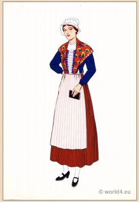 Traditional French national costumes. Franche-Comté costume