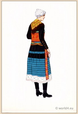 Poichoir Fashion Print. Traditional French national costumes. Woman folk dress from Saint Colomban des Villards, Savoie