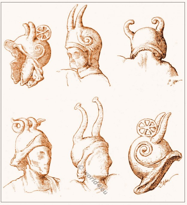 Ancient Gallic warriors. Gallic and Gallo-Roman helmets. Soldier cuirass. Horned helmets. Celtic Cernunnos