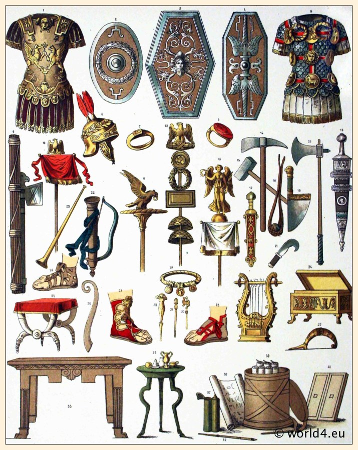 Roman armor, shields, weapons, helmets, axes, swords, sandals, music instruments, jewelry, furniture.