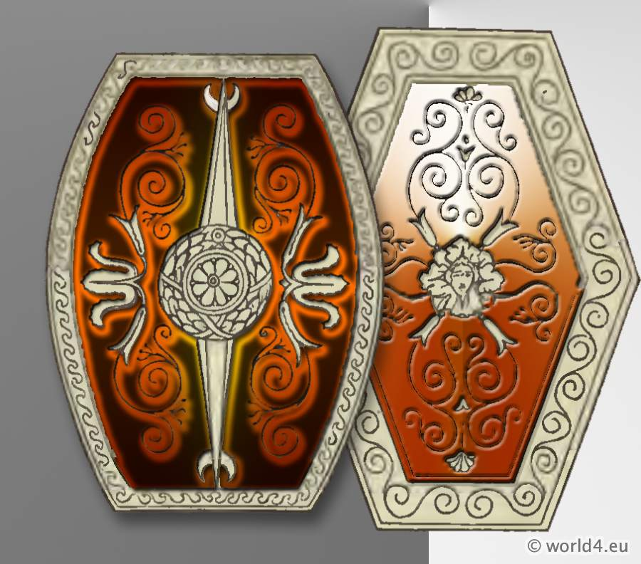 Ancient Roman Scutum Shields. Roman Army Weapons, Legionary, Soldier cuirass.